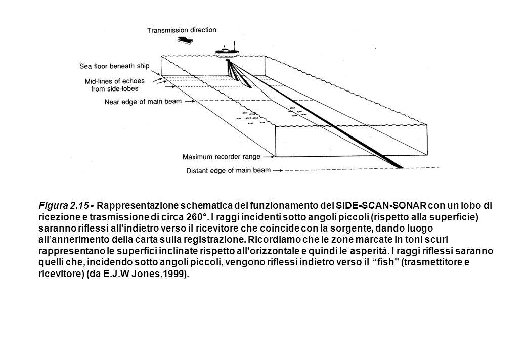 Figura 2.15 - Rappresentazione schematica del funzionamento del SIDE-SCAN-SONAR con un lobo di ricezione e trasmissione di circa 260°.
