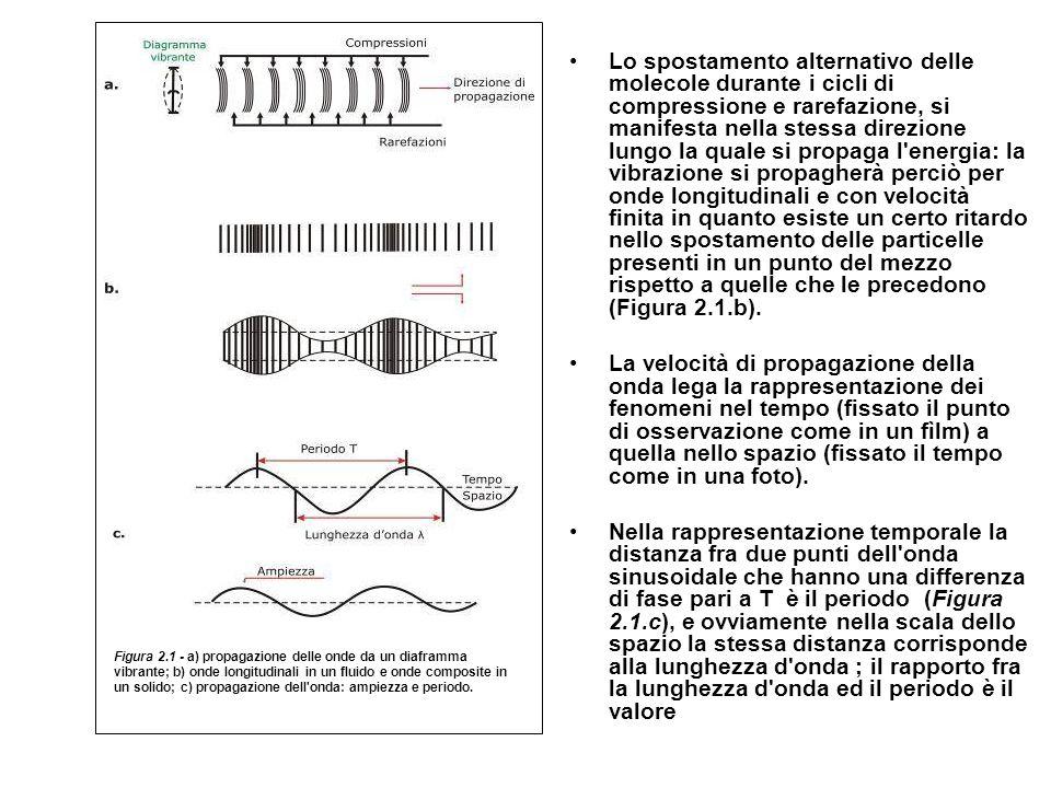 Lo spostamento alternativo delle molecole durante i cicli di compressione e rarefazione, si manifesta nella stessa direzione lungo la quale si propaga l energia: la vibrazione si propagherà perciò per onde longitudinali e con velocità finita in quanto esiste un certo ritardo nello spostamento delle particelle presenti in un punto del mezzo rispetto a quelle che le precedono (Figura 2.1.b).