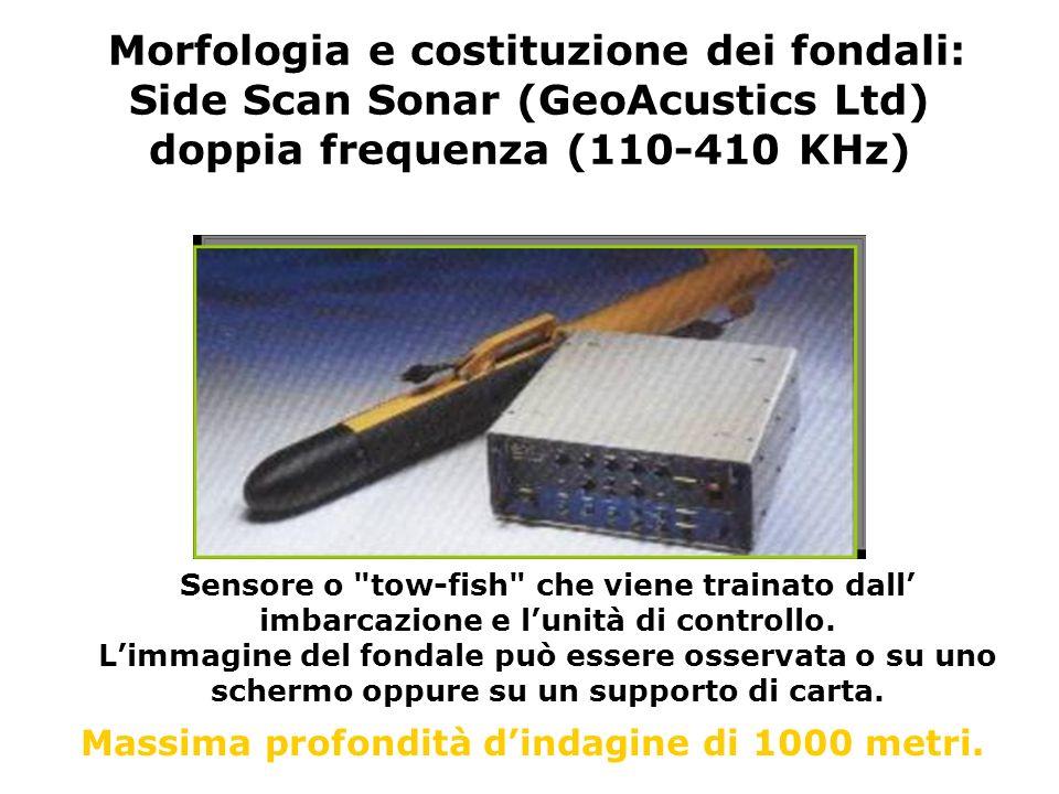 Morfologia e costituzione dei fondali: Side Scan Sonar (GeoAcustics Ltd) doppia frequenza (110-410 KHz)