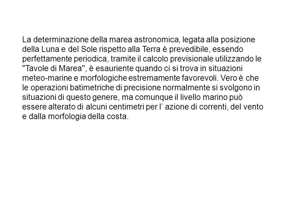 La determinazione della marea astronomica, legata alla posizione della Luna e del Sole rispetto alla Terra è prevedibile, essendo perfettamente periodica, tramite il calcolo previsionale utilizzando le Tavole di Marea , è esauriente quando ci si trova in situazioni meteo-marine e morfologiche estremamente favorevoli.