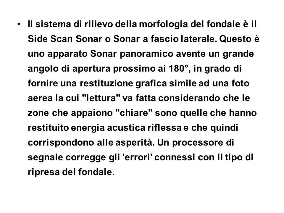 Il sistema di rilievo della morfologia del fondale è il Side Scan Sonar o Sonar a fascio laterale.