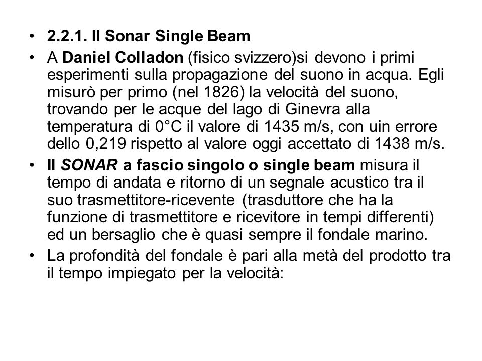 2.2.1. Il Sonar Single Beam