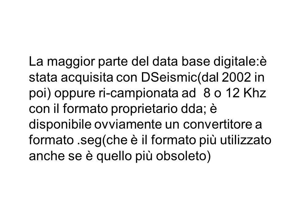 La maggior parte del data base digitale:è stata acquisita con DSeismic(dal 2002 in poi) oppure ri-campionata ad 8 o 12 Khz con il formato proprietario dda; è disponibile ovviamente un convertitore a formato .seg(che è il formato più utilizzato anche se è quello più obsoleto)