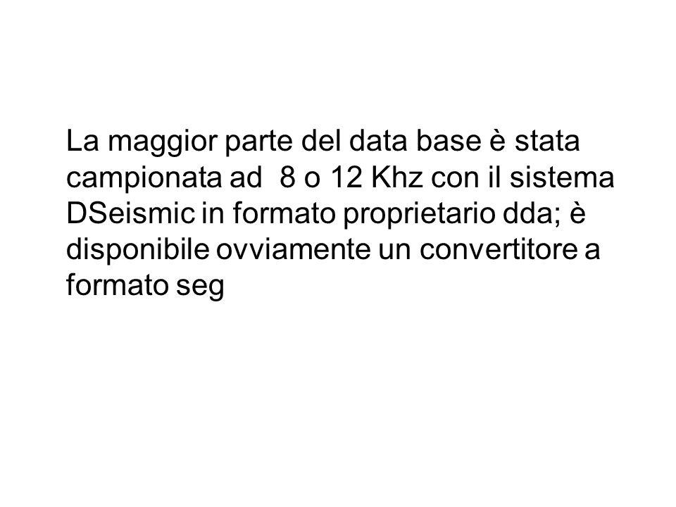 La maggior parte del data base è stata campionata ad 8 o 12 Khz con il sistema DSeismic in formato proprietario dda; è disponibile ovviamente un convertitore a formato seg