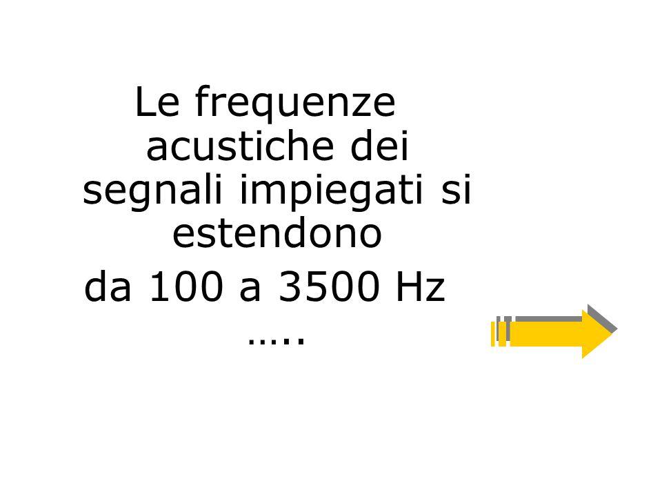 Le frequenze acustiche dei segnali impiegati si estendono