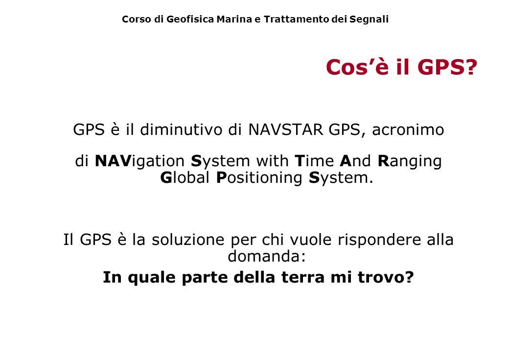 Cos'è il GPS GPS è il diminutivo di NAVSTAR GPS, acronimo
