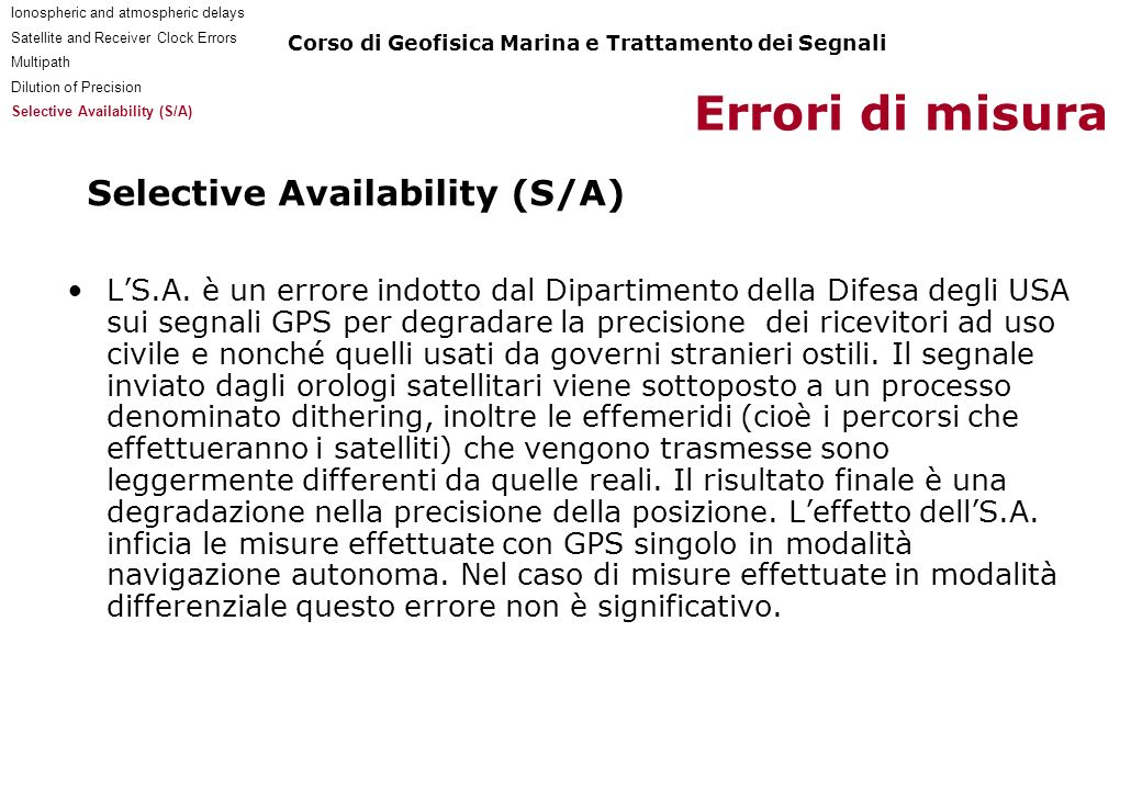 Selective Availability (S/A)