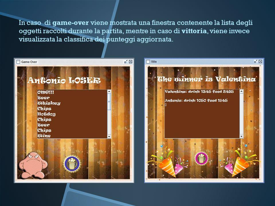In caso di game-over viene mostrata una finestra contenente la lista degli oggetti raccolti durante la partita, mentre in caso di vittoria, viene invece visualizzata la classifica dei punteggi aggiornata.