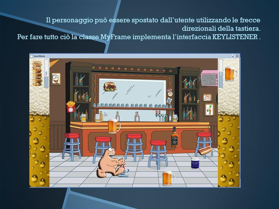 Il personaggio può essere spostato dall'utente utilizzando le frecce direzionali della tastiera.