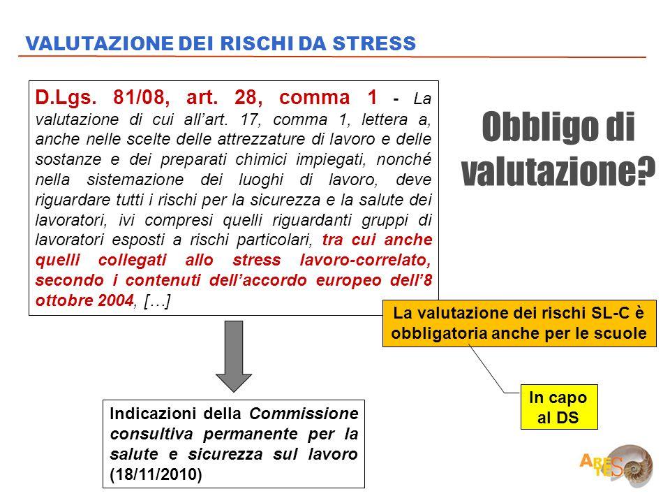 La valutazione dei rischi SL-C è obbligatoria anche per le scuole