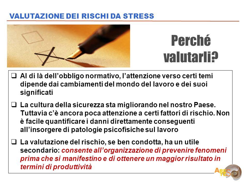 Perché valutarli VALUTAZIONE DEI RISCHI DA STRESS