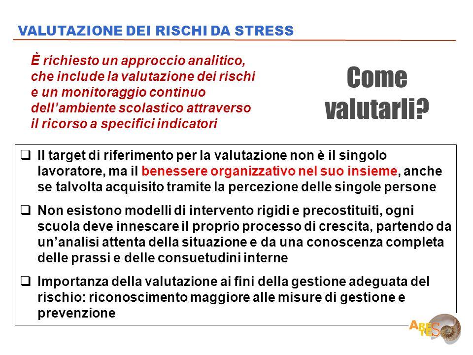 Come valutarli VALUTAZIONE DEI RISCHI DA STRESS