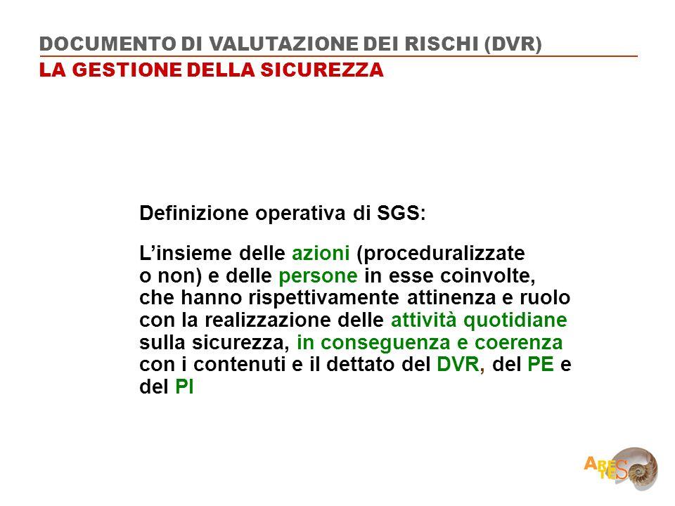 Definizione operativa di SGS: