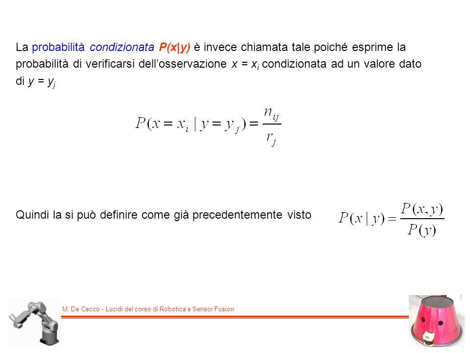 La probabilità condizionata P(x|y) è invece chiamata tale poiché esprime la probabilità di verificarsi dell'osservazione x = xi condizionata ad un valore dato di y = yj