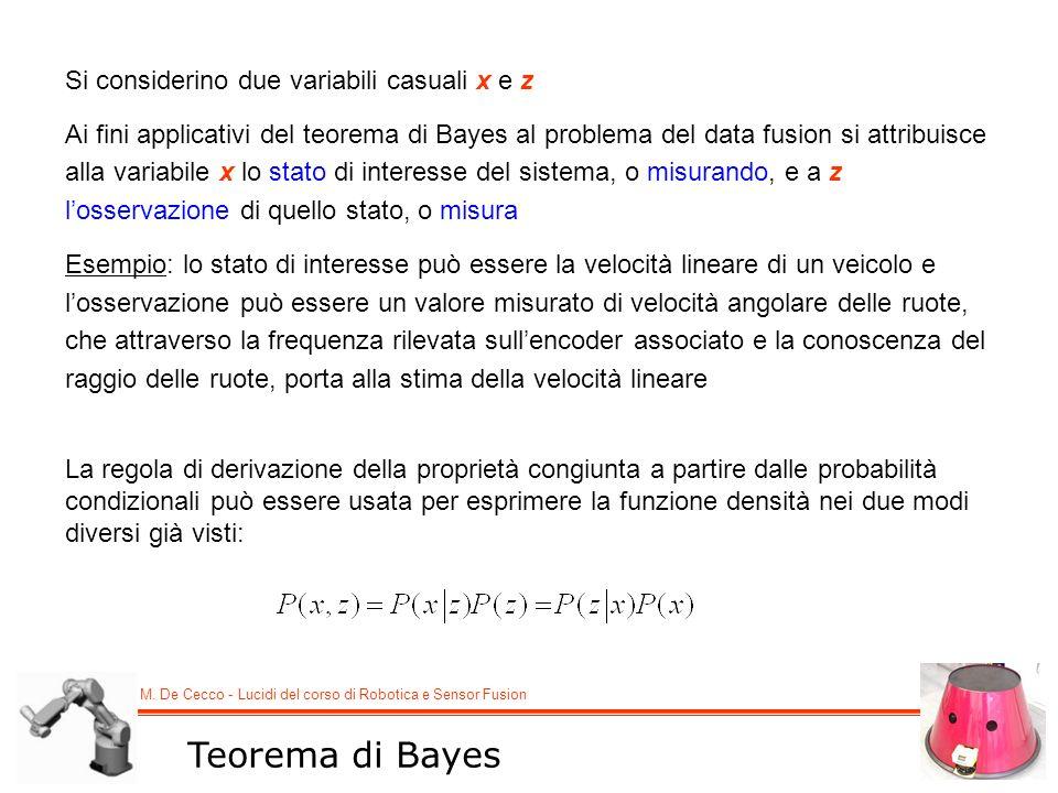 Teorema di Bayes Si considerino due variabili casuali x e z
