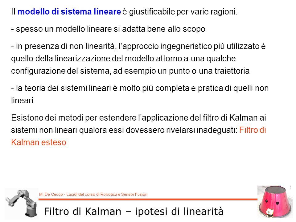 Filtro di Kalman – ipotesi di linearità