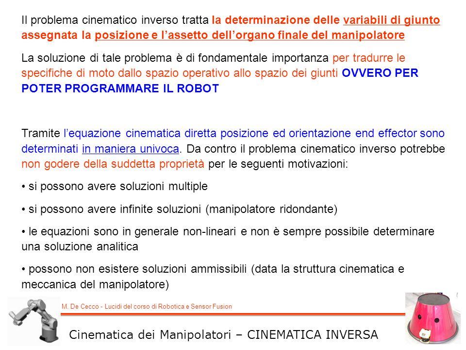 Il problema cinematico inverso tratta la determinazione delle variabili di giunto assegnata la posizione e l'assetto dell'organo finale del manipolatore