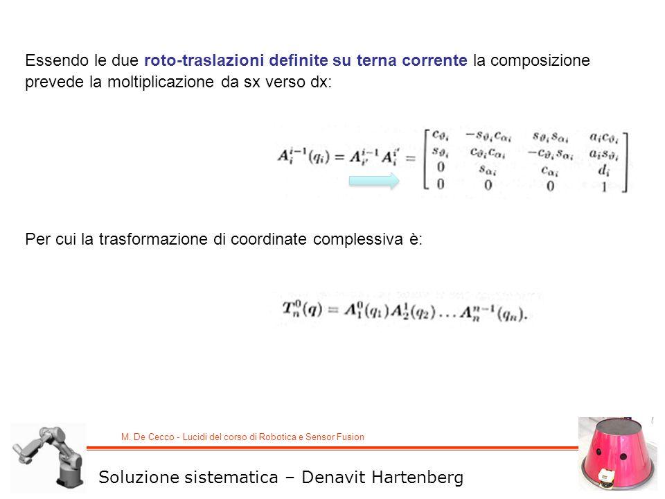 Essendo le due roto-traslazioni definite su terna corrente la composizione prevede la moltiplicazione da sx verso dx: