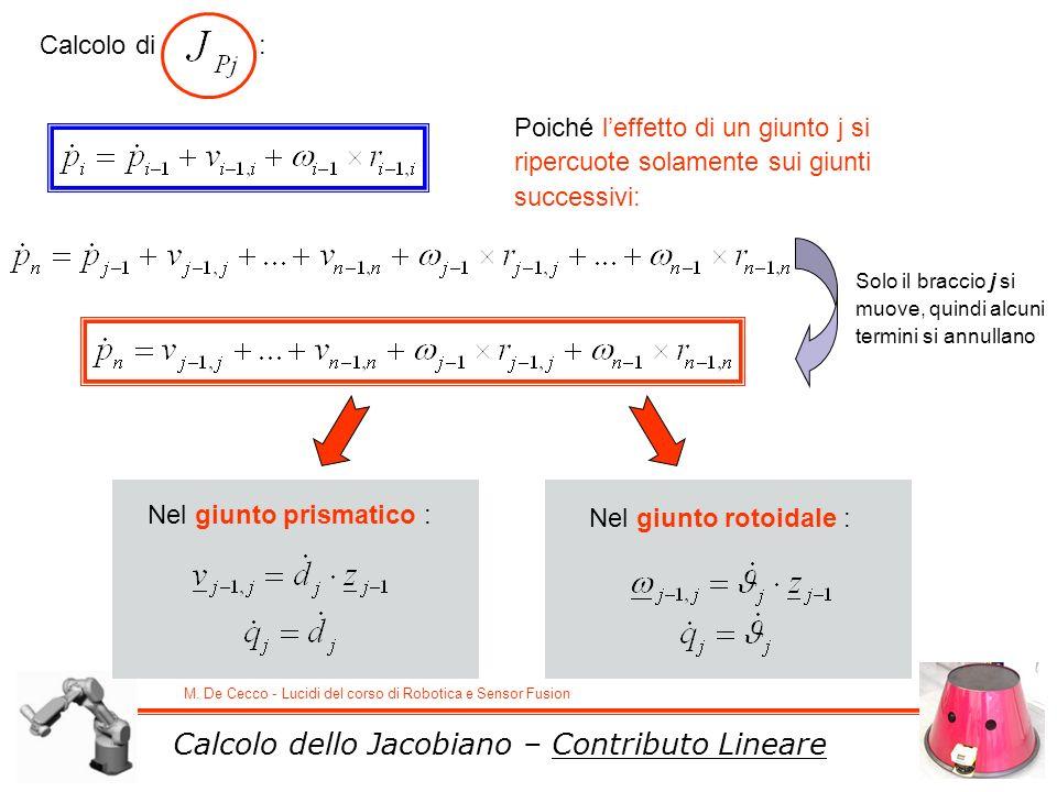 Calcolo dello Jacobiano – Contributo Lineare