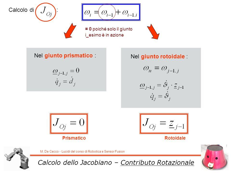 Calcolo dello Jacobiano – Contributo Rotazionale