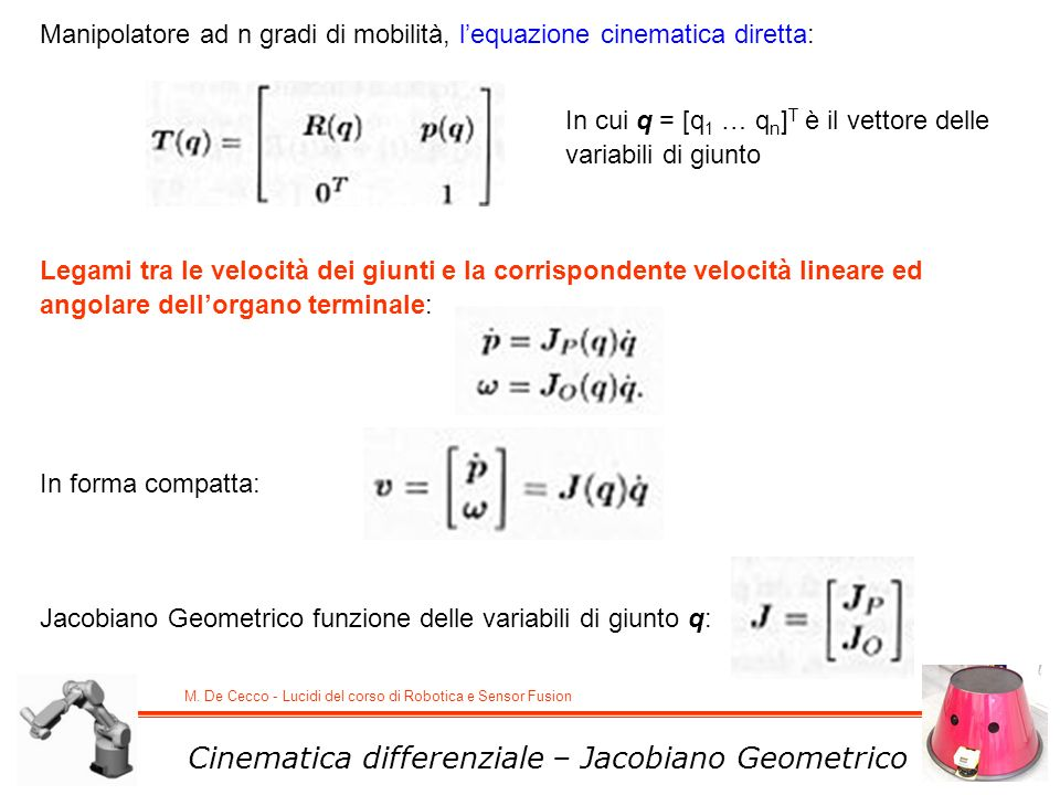 Cinematica differenziale – Jacobiano Geometrico