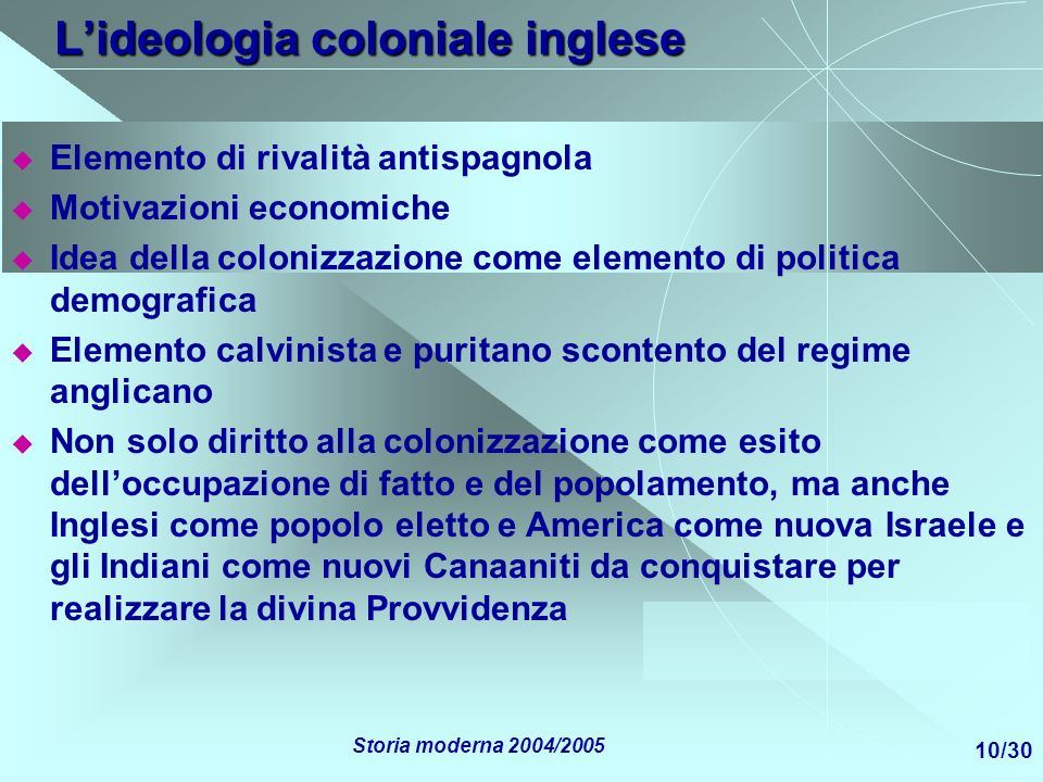 L'ideologia coloniale inglese