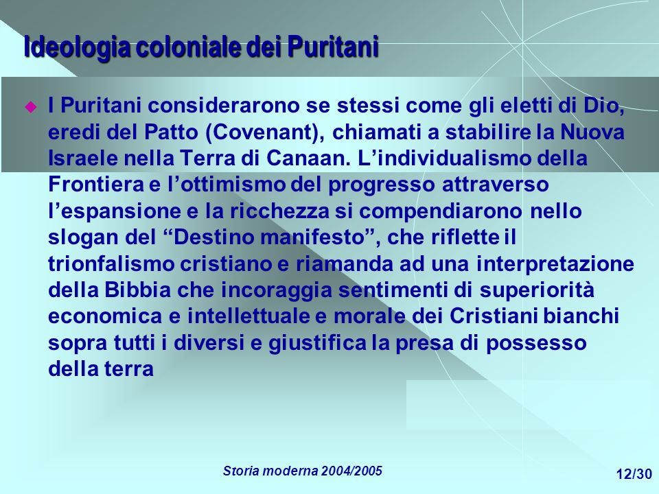 Ideologia coloniale dei Puritani