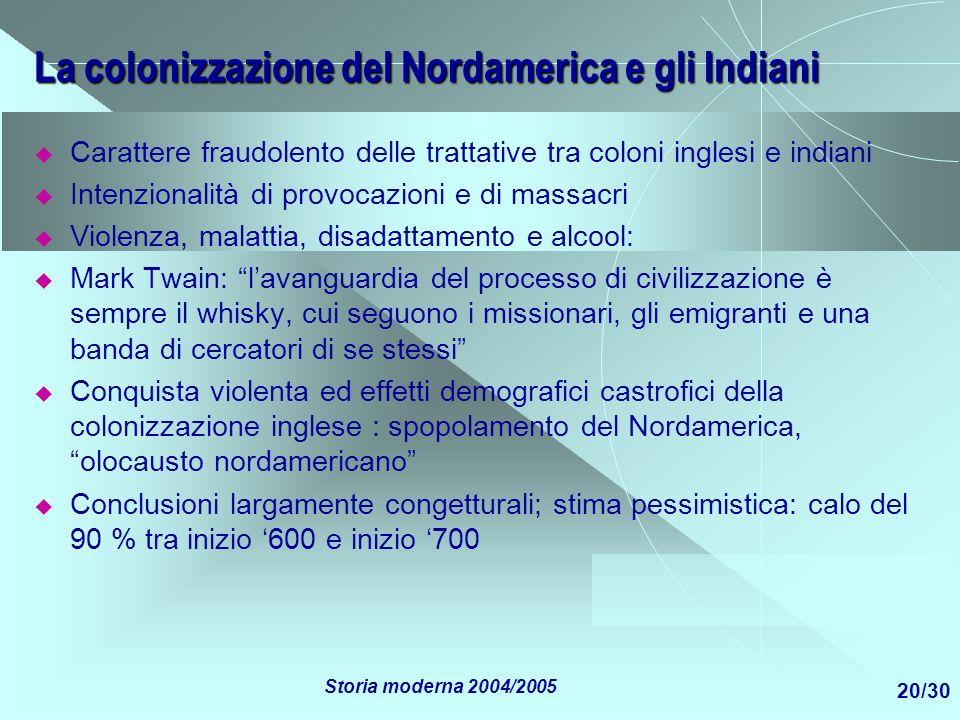 La colonizzazione del Nordamerica e gli Indiani