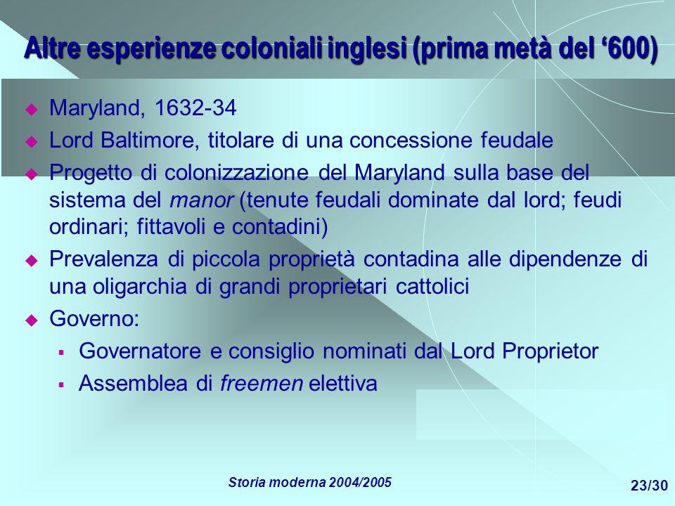 Altre esperienze coloniali inglesi (prima metà del '600)