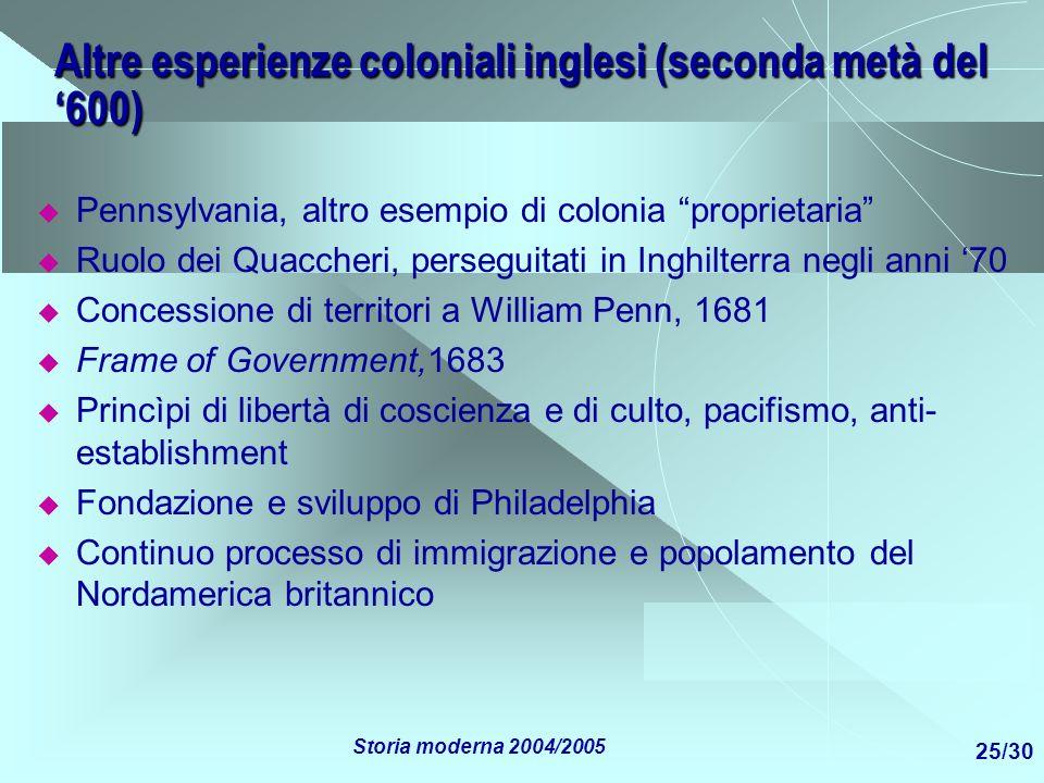 Altre esperienze coloniali inglesi (seconda metà del '600)