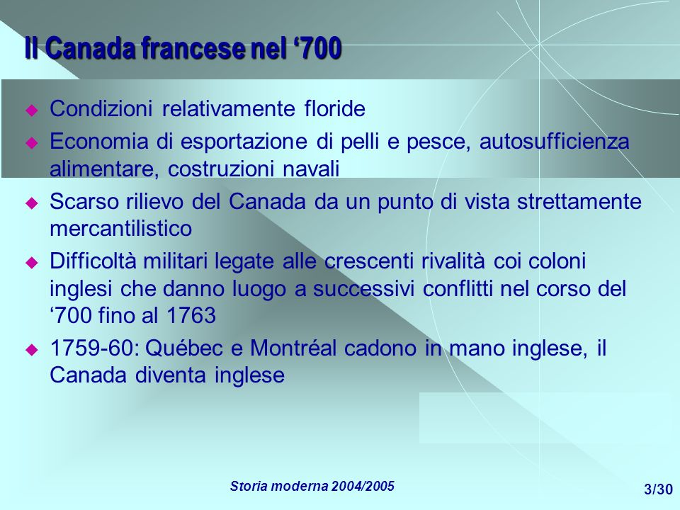 Il Canada francese nel '700