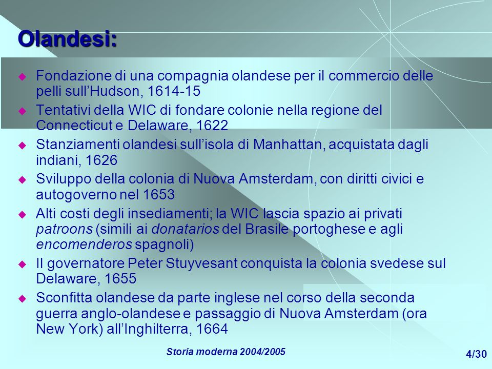 Olandesi:Fondazione di una compagnia olandese per il commercio delle pelli sull'Hudson, 1614-15.