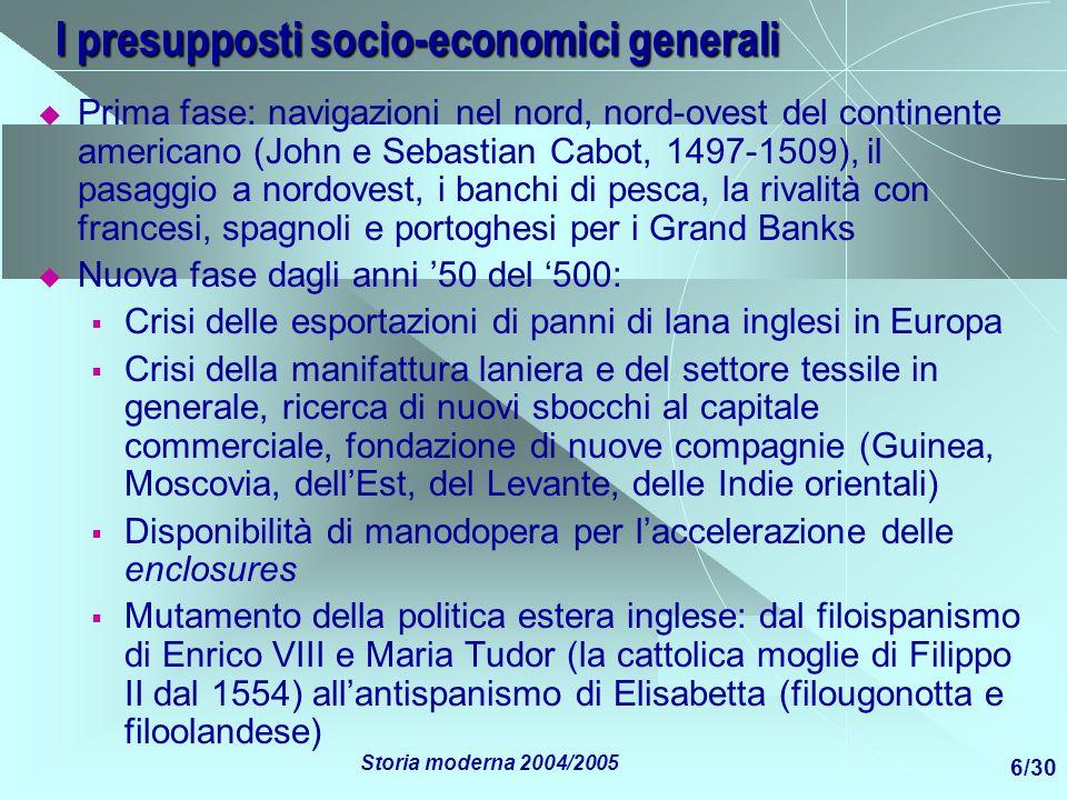 I presupposti socio-economici generali