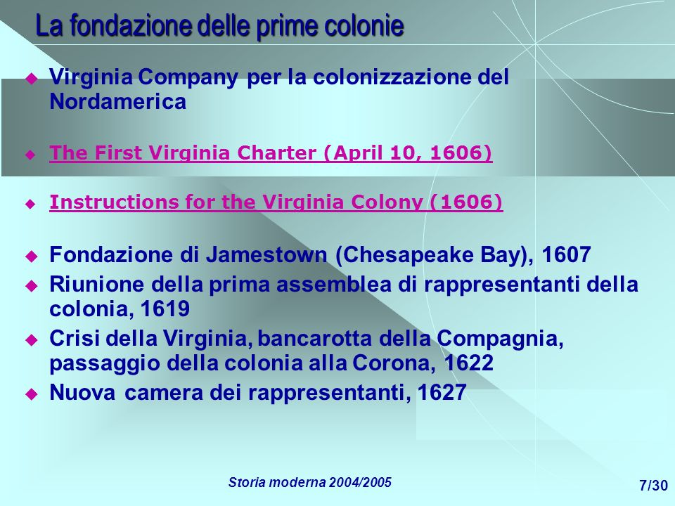 La fondazione delle prime colonie