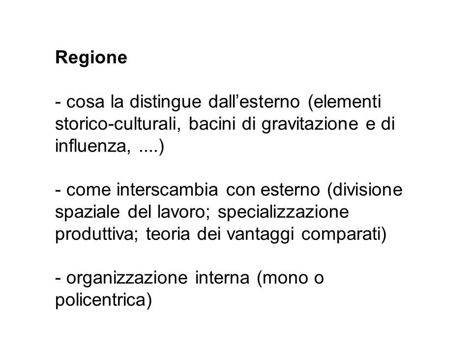 Regione cosa la distingue dall'esterno (elementi storico-culturali, bacini di gravitazione e di influenza, ....)