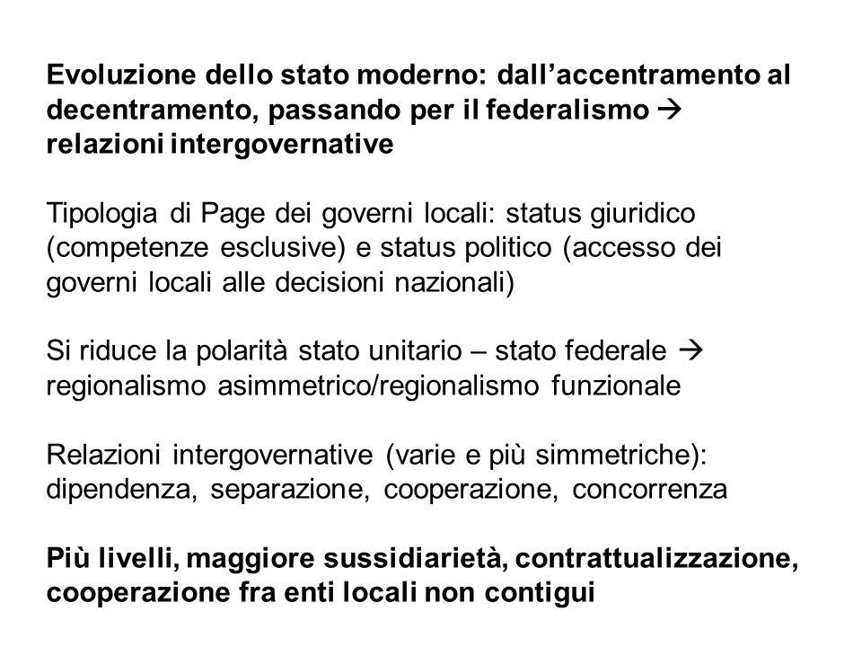 Evoluzione dello stato moderno: dall'accentramento al decentramento, passando per il federalismo  relazioni intergovernative