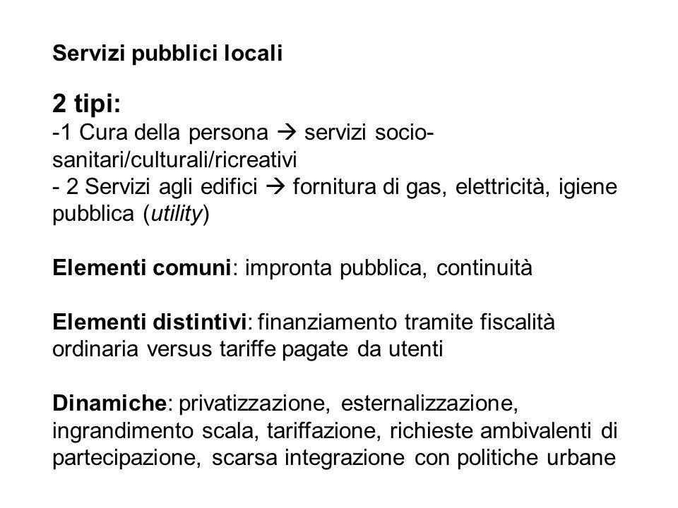 2 tipi: Servizi pubblici locali
