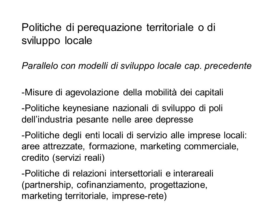 Politiche di perequazione territoriale o di sviluppo locale