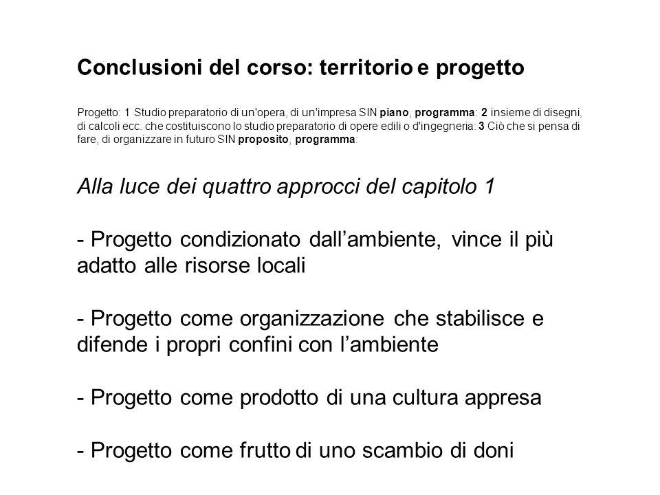 Conclusioni del corso: territorio e progetto