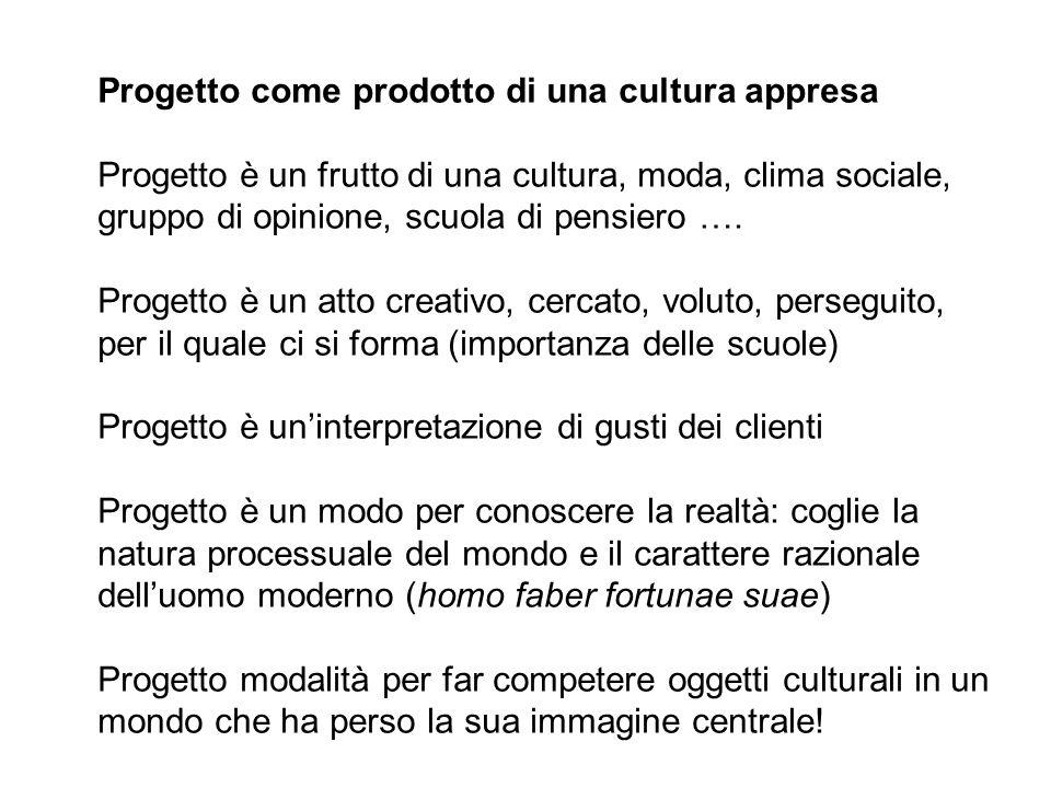 Progetto come prodotto di una cultura appresa