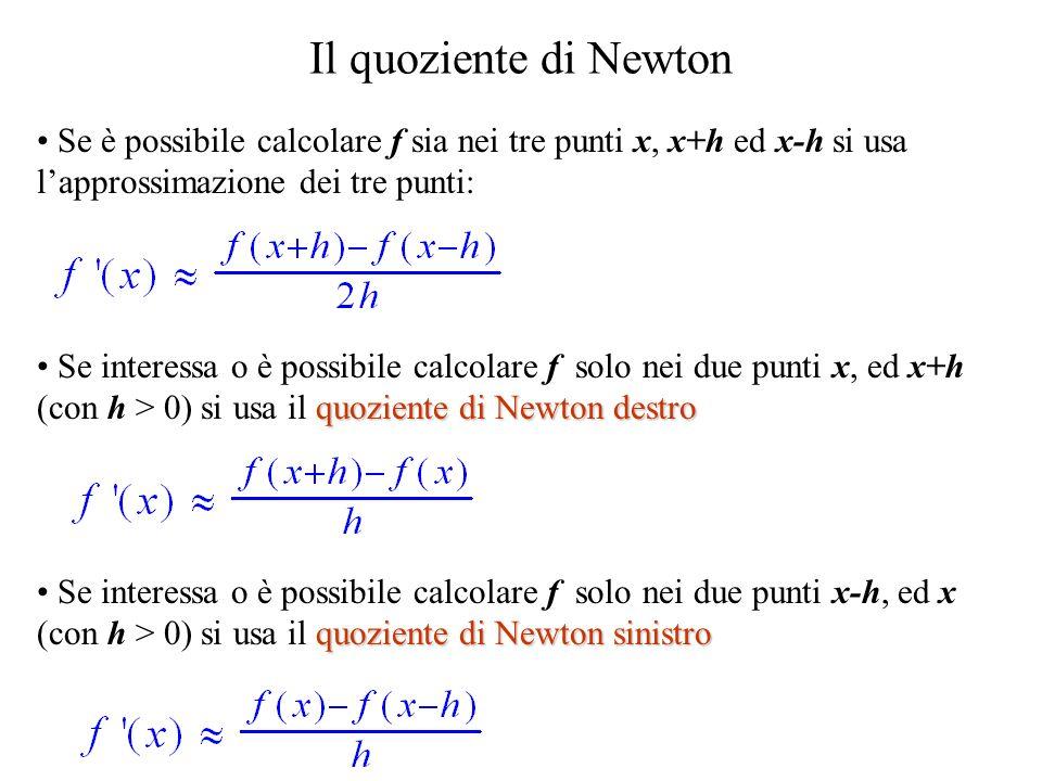 Il quoziente di Newton Se è possibile calcolare f sia nei tre punti x, x+h ed x-h si usa l'approssimazione dei tre punti: