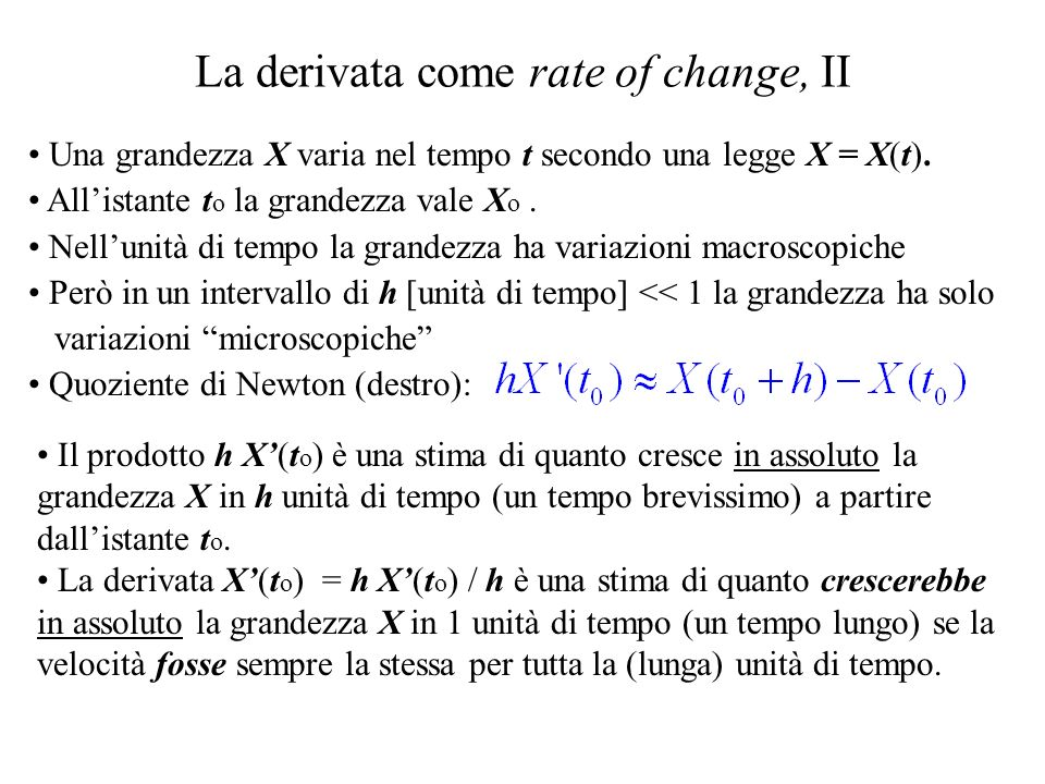 La derivata come rate of change, II