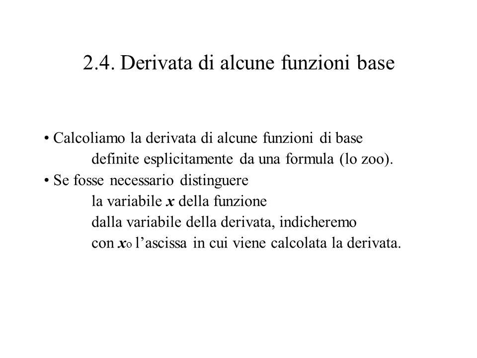 2.4. Derivata di alcune funzioni base