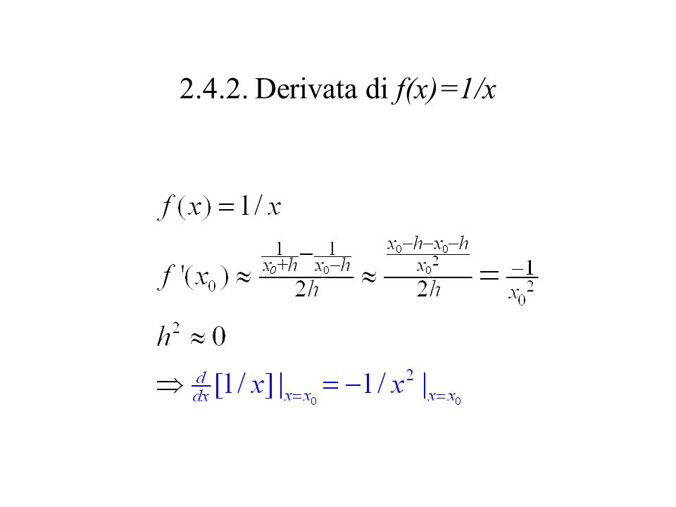 2.4.2. Derivata di f(x)=1/x