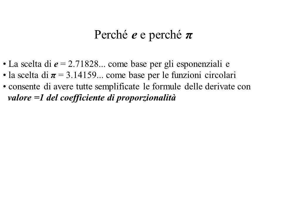 Perché e e perché π La scelta di e = 2.71828... come base per gli esponenziali e. la scelta di π = 3.14159... come base per le funzioni circolari.