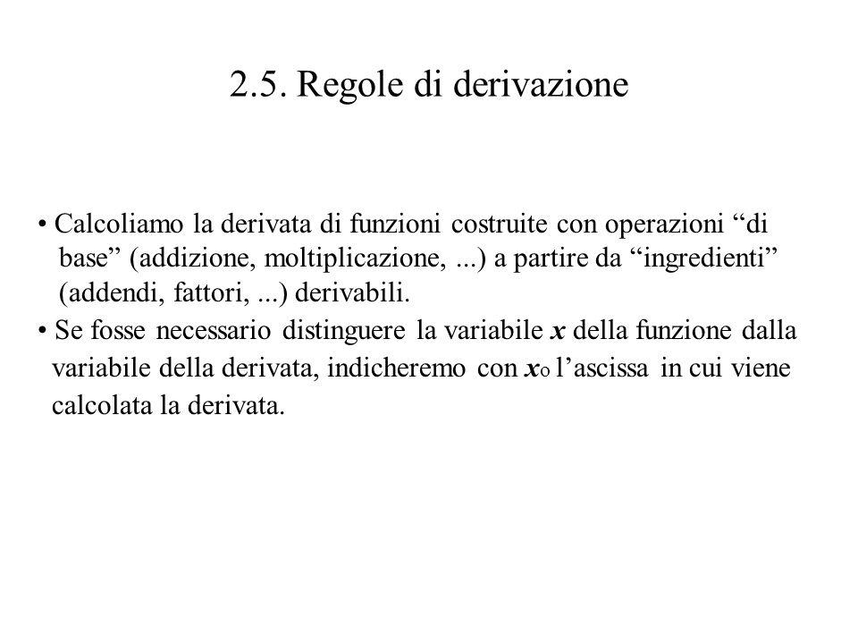 2.5. Regole di derivazione Calcoliamo la derivata di funzioni costruite con operazioni di.