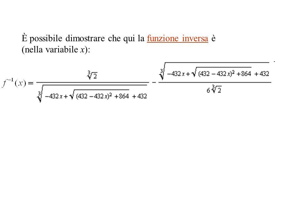 È possibile dimostrare che qui la funzione inversa è