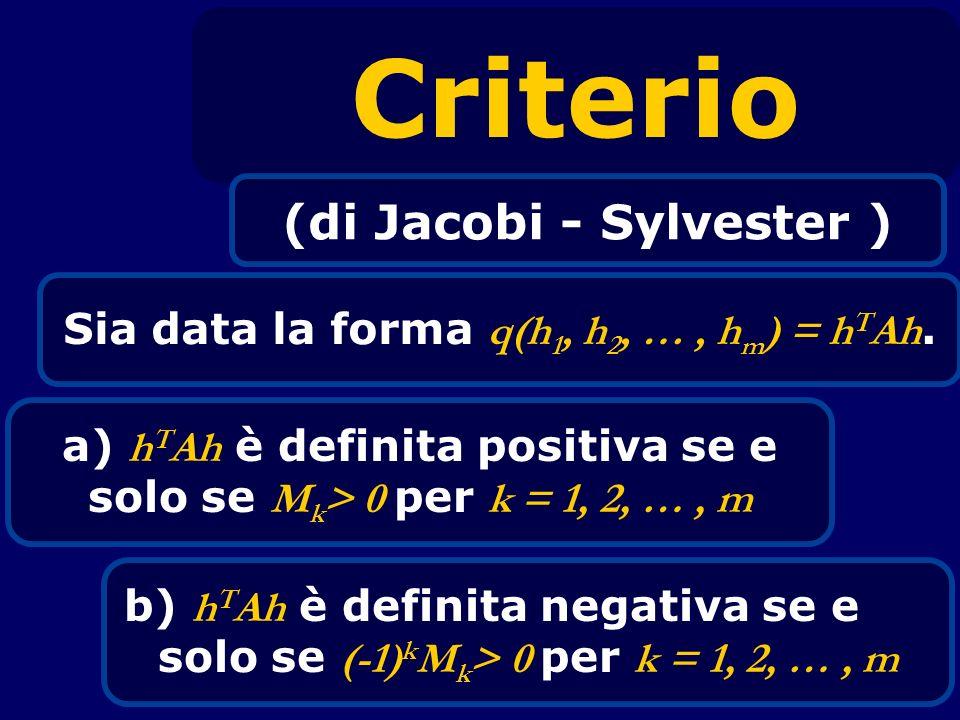 Criterio (di Jacobi - Sylvester )