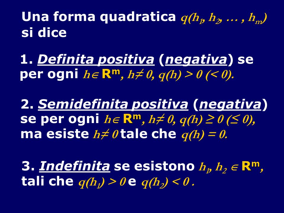 Una forma quadratica q(h1, h2, … , hm)