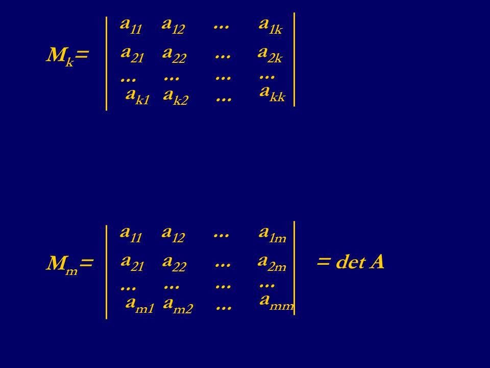 Mk= a11 a12 a1k ... a21 a22 a2k ak1 ak2 akk Mm= a11 a12 a1m ... a21 a22 a2m am1 am2 amm = det A